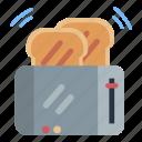 cooking, toaster, bread, breakfast, kitchen