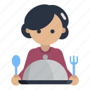 cooking, meal, fork, spoon, food, serve, female