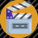 clapperboard, entertain, film, movie, action, film production