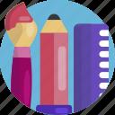 design, brush, pencil, ruler, paint brush, art