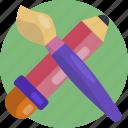design, tool, artistic, brush, draw, pencil, pencil and brush