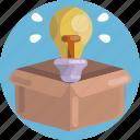 bulb, idea, light, box