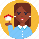 real, estate, sales, woman, home, house, occupational character