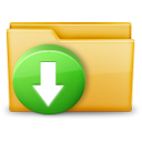 arrow, download, folder icon