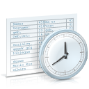 chronological review, clock, table, time icon