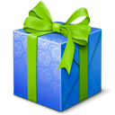 blue, gift, present, welcome icon