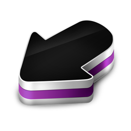 arrow, purple icon
