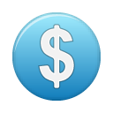 blue, currency, dollar, funding, investment icon
