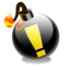 bomb, exclamation point icon