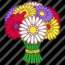 bouquet, daisies, flowers, gerbera, gerberas, gift, present icon