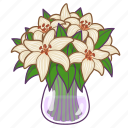 bouquet, florist, flowers, gift, lilies, vase, lily icon