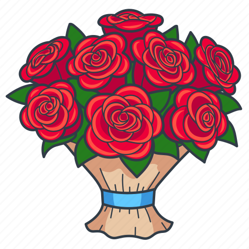 Bouquet, floral, flowers, gift, present, roses, rose icon - Download on Iconfinder