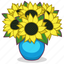 bouquet, flowers, gift, present, sunflowers, vase icon