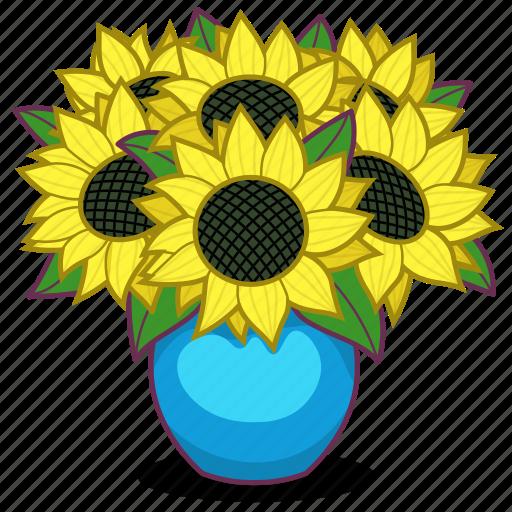 Bouquet, flowers, gift, present, sunflowers, vase, sunflower icon - Download on Iconfinder