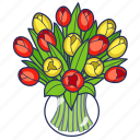bouquet, floral, flowers, gift, tulip, tulips, vase icon