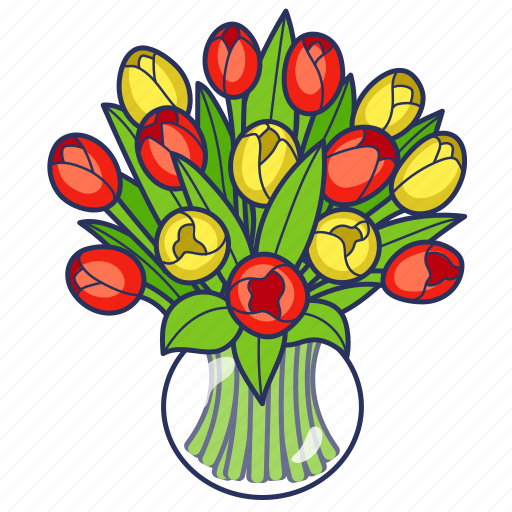 Bouquet, floral, flowers, gift, tulips, vase, tulip icon - Download on Iconfinder
