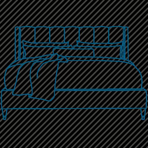 bed, headboard, king, night, pillows, sheets, sleep icon