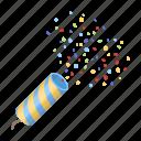 accessory, attributes, confetti, cracker, entertainment, fun, party