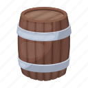 barrel, beer, brewing, capacity, storage, wooden icon