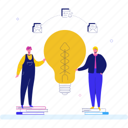 idea, lightbulb, email, team