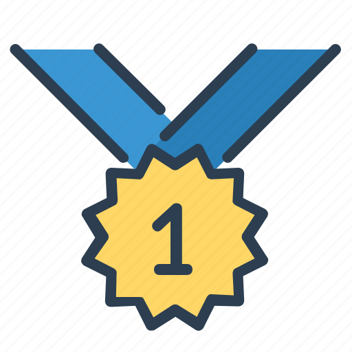 award, medal, number one, prize, ribbon, victory, winner icon