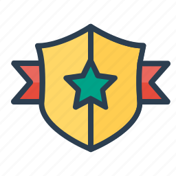 achievement, award, best, prize, ribbon, shield, star icon
