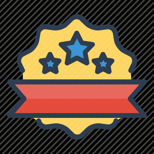 achievement, award, badge, ribbon, seal, stars, winner icon