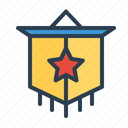 achievement, award, badge, pennant, prize, star, winner flag icon