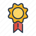 achievement, award, badge, medal, prize, ribbon, seal icon