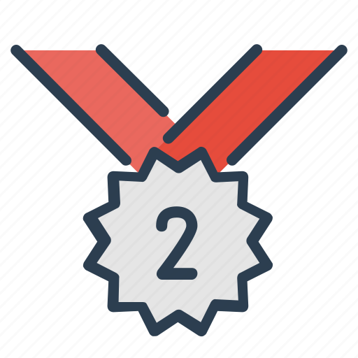 award, medal, number two, prize, silver, victory, winner icon
