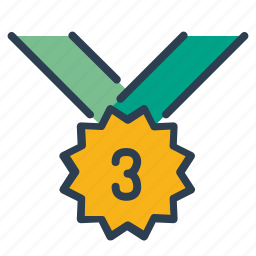 award, bronze, medal, number three, prize, victory, winner icon