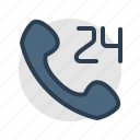 call, help, mobile, phone, service center, support, whole day icon