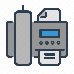 call, communication, contact, device, fax, machine, printer icon