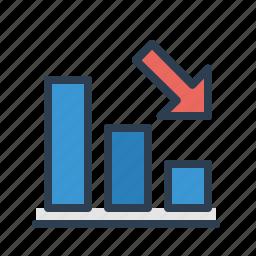 analytics, arrow down, chart, decrease, loss, statistics, stats icon
