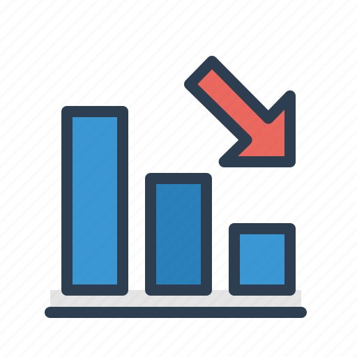 analytics, arrow down, decrease, loss icon