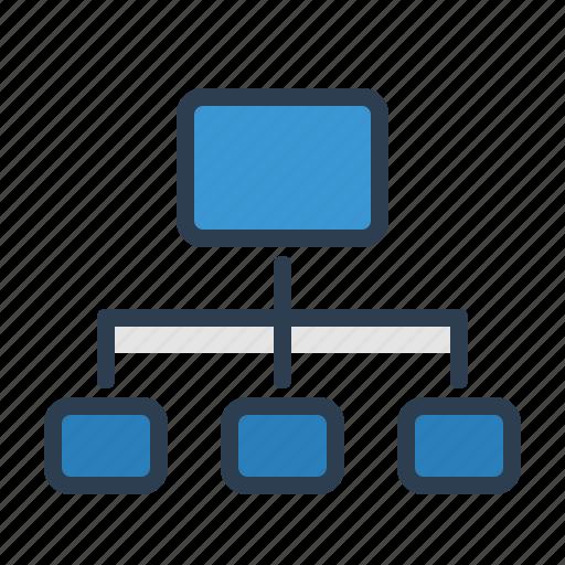 flowchart, hierarchy, navigation, relations, scheme, sitemap, wireframe icon