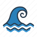 big wave, catastrophe, disaster, ocian, tsunami, water, wave icon