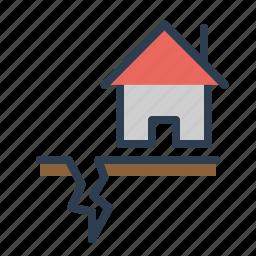 disaster, earthquake, gap, house, quake, shakes, temblor icon