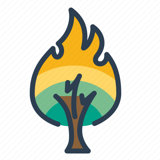 burning tree, danger, disaster, fire, flame, forest, wildfire icon