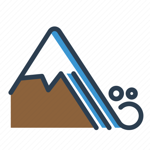 avalanche, danger, disaster, mountain, natural, snow, snow slide icon