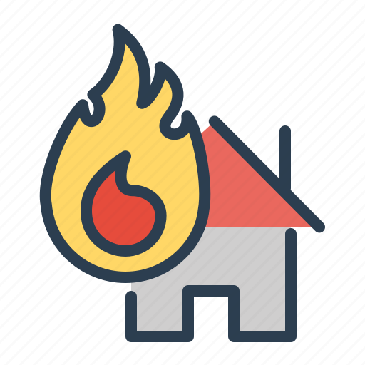 accident, alert, fire, flame, house icon