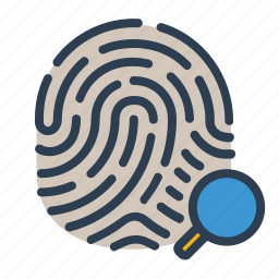 biometric, fingerprint, identification, magnifying glass, scan, search, touch id icon