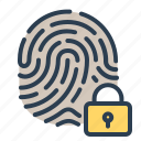 biometric, fingerprint, lock, touch id icon