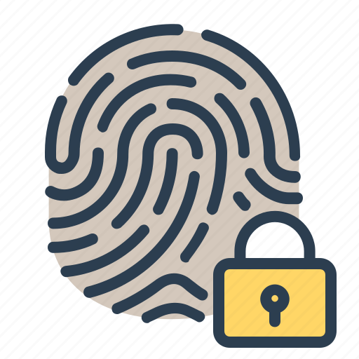 biometric, fingerprint, identification, lock, scan, security, touch id icon