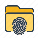 biometric, fingerprint, folder, identification, scan, security, touch id icon