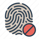 biometric, cancel, denied, fingerprint, identification, security, touch id icon