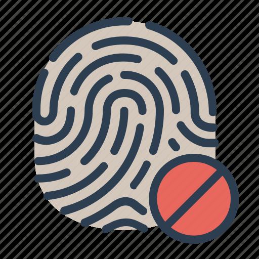 biometric, cancel, denied, fingerprint, identification, security, touch id icon
