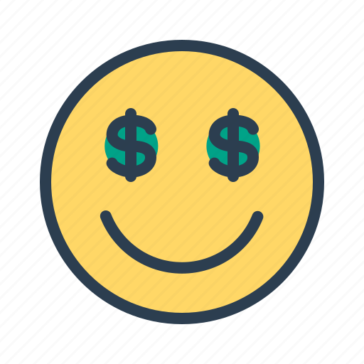 dollar, face, money, smiley icon