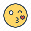 emoji, face, kiss, love icon