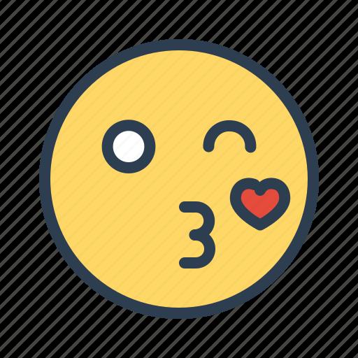 emoji, face, kiss, love icon